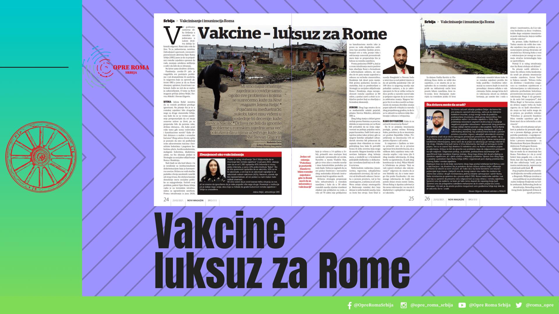 Vaccines  luxury  for Roma